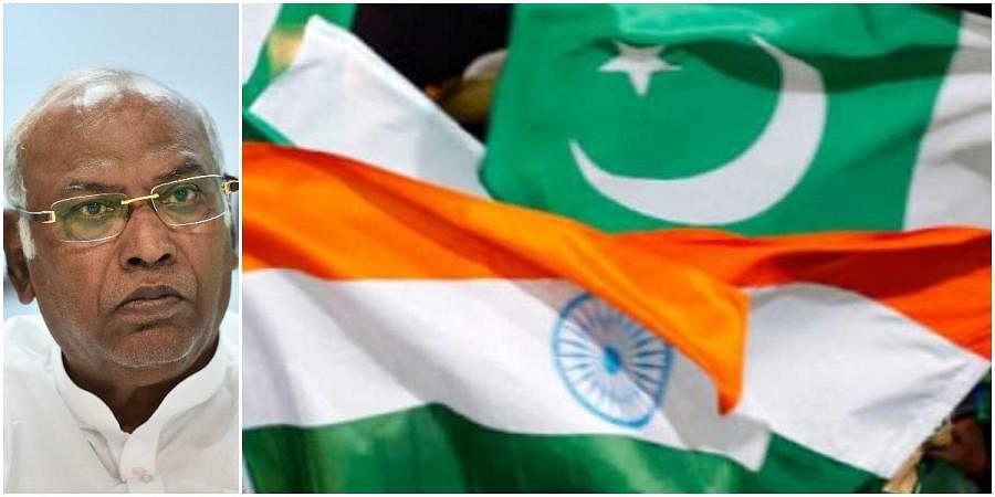 Congress leader Mallikarjun Kharge (L) and India-Pakistan flags