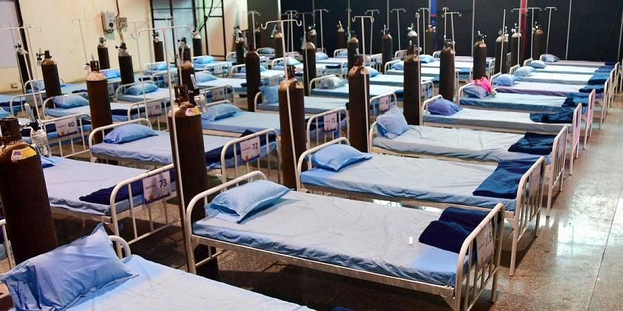 A view of the beds kept inside a COVID-19 special hospital ready to serve facility at Nehru Science Centre in Mumbai