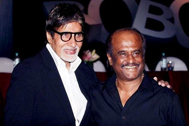 Bollywood actor Amitabh Bachchan and Kollywood superstar Rajinikanth at the music launch of 'Robot' in Mumbai