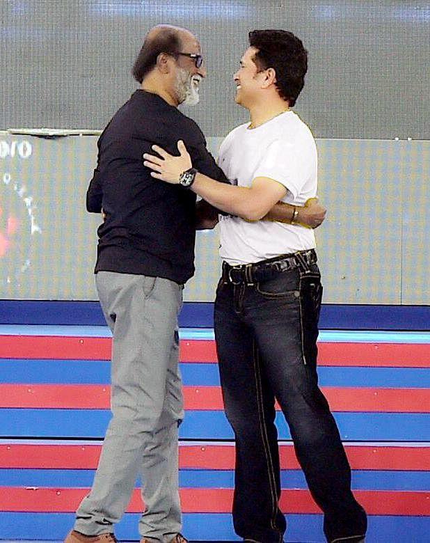 Rajinikanth (L) with Indian cricketer Sachin Tendulkar