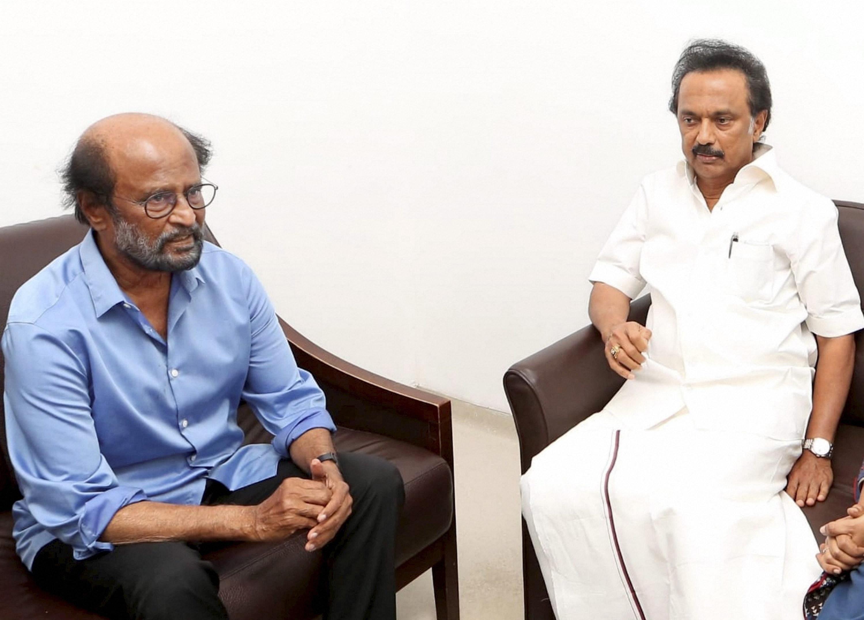 Actor Rajinikanth (L) with DMK's MK Stalin during his visit to ailing former CM M Karunanidhi