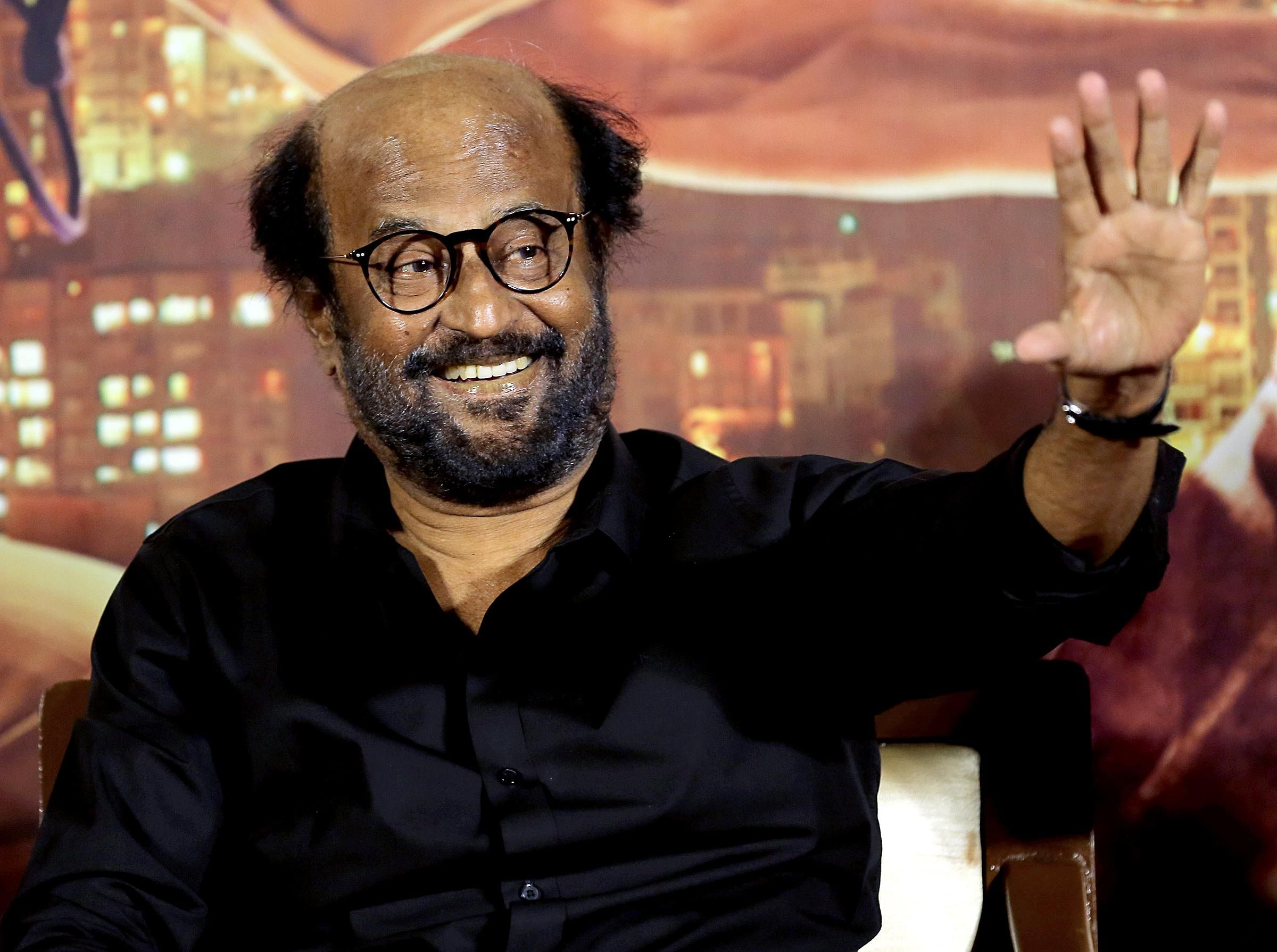 Actor Rajnikanth at the trailer release event of 'Darbar' in Mumbai.