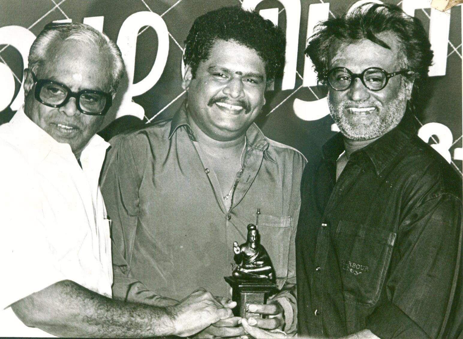 Rajinikanth (R) with veteran director K Balachander and KS Ravikumar