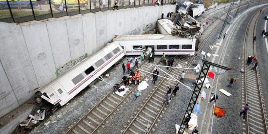 Spain derailing: Some 80 people were killed and another 144 injured when a high-speed train slammed into a concrete wall on the outskirts of Santiago de Compostela on July 24, 2013. The train had been approaching a curve at more than twice the speed limit and the driver is charged with negligent homicide.