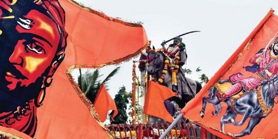 Flags of Chhatrapati Shivaji Maharaj flutter during the birth anniversary celebrations of the Maratha ruler, in Hyderabad (File Photo |  Vinay Madapu, EPS)