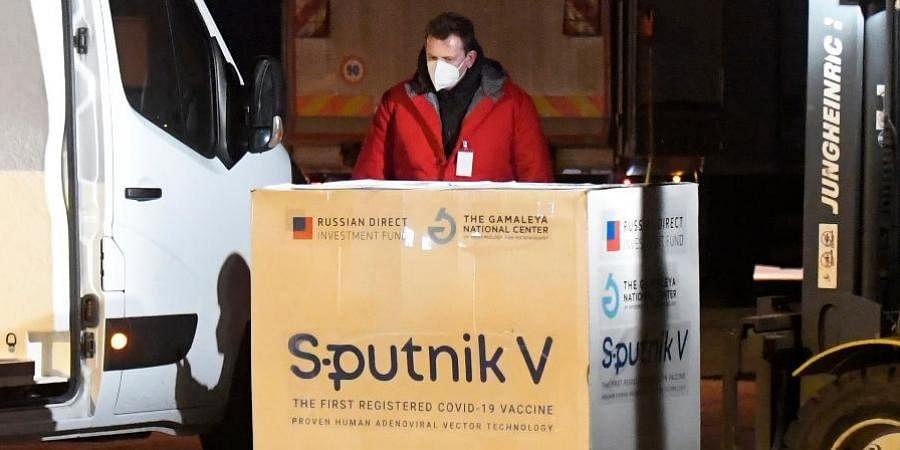 Russia's Sputnik V coronavirus vaccine arrives at Kosice Airport, Slovakia.