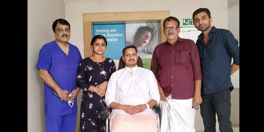 Subash with Dr Nasser Yusuf, wife Sharanya and Libin Varghese. (Photo | Special Arrangement)