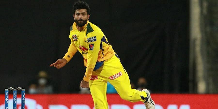 Ravindra Jadeja of Chennai Super Kings bowls during an IPL 2021 match vs Rajasthan Royals