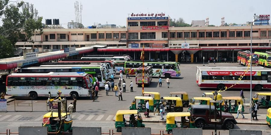 Private buses queued up inside the Majestic bus terminus as KSRTC bus employees continue their strike in Bengaluru. (Photo | Ashishkrishna HP, EPS)