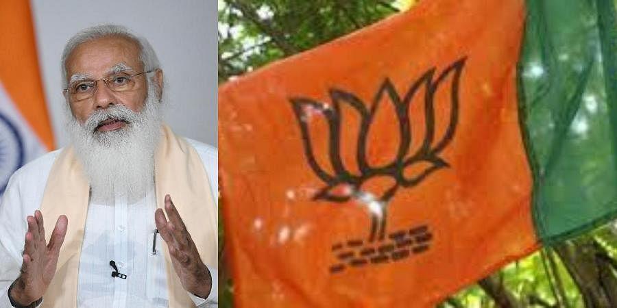PM Narendra Modi (L) and BJP flag