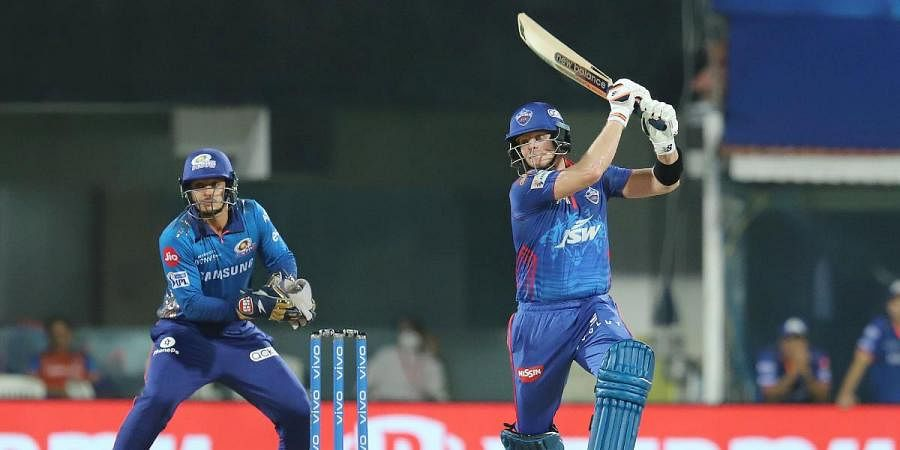 teve Smith of Delhi Capitals plays a shot during an IPL 2021 match against Mumbai Indians in Chennai