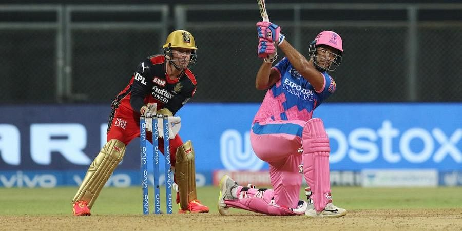 Shivam Dube of Rajasthan Royals plays a shot during an IPL 2021 match against Royal Challengers Bangalore in Mumbai