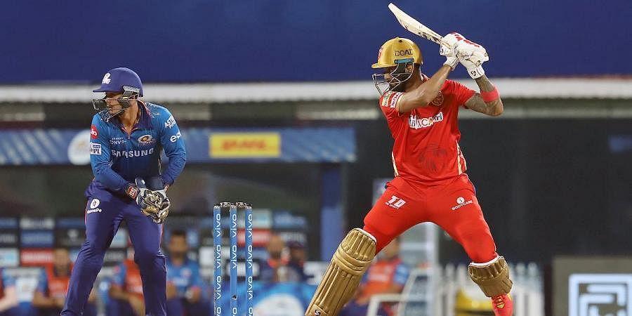 Punjab Kings skipper KL Rahul plays a shot during an IPL 2021 match against Mumbai Indians in Chennai