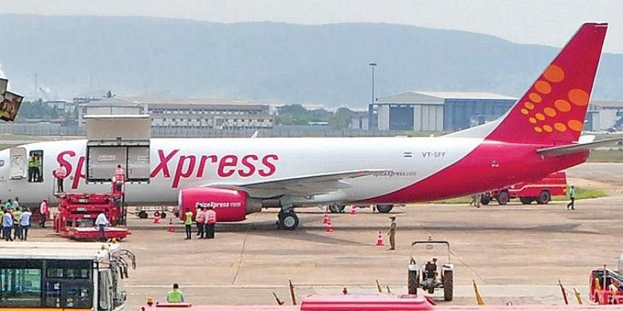 Spiceexpress dedicated cargo flight which landed at Visakhapatnam airport on Tuesday.