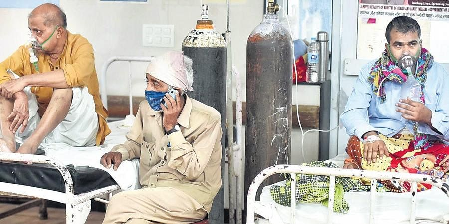 Covid-19 patients undergo treatment at LLR Hospital in Lucknow on Friday. Like the rest of the country, Uttar Pradesh is also witnessing a rapid rise in cases.