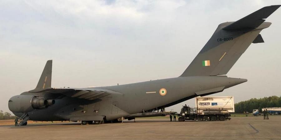 Offloading of container at Panagarh Air Base is carried out