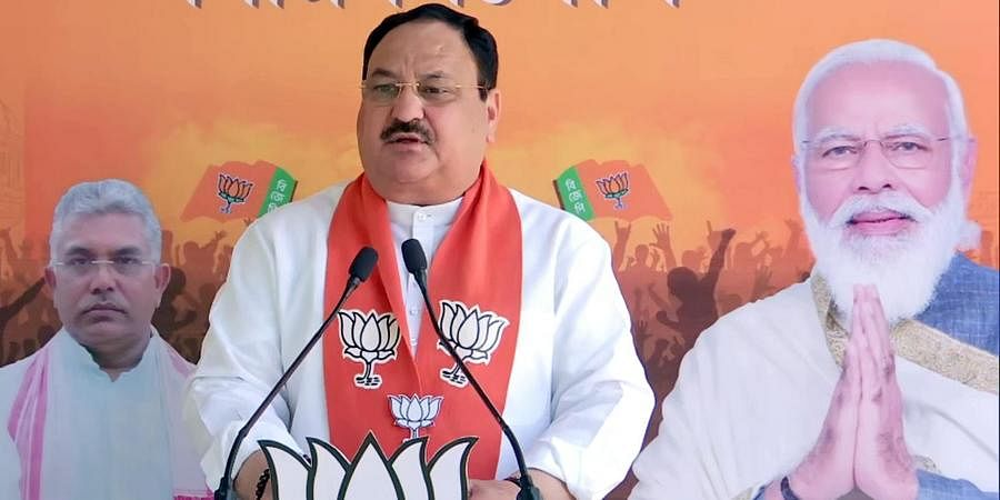 BJP National President JP Nadda addresses a public meeting at Jali Bagan and Barman during the ongoing assembly election via video conferencing, in New Delhi on Sunday.
