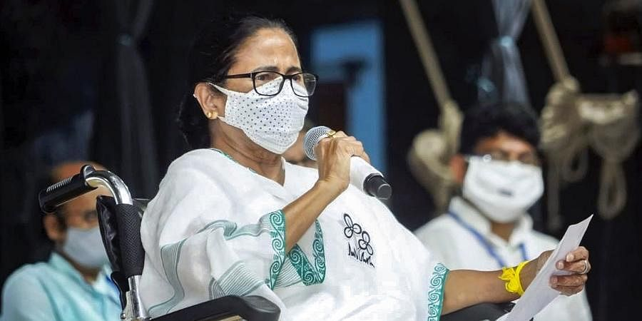 Bengal CM Mamata Banerjee during a virtual meeting in support of party candidates for the last two phases of election campaigning at Berhampore Rabindra Sadan in Murshidabad district.