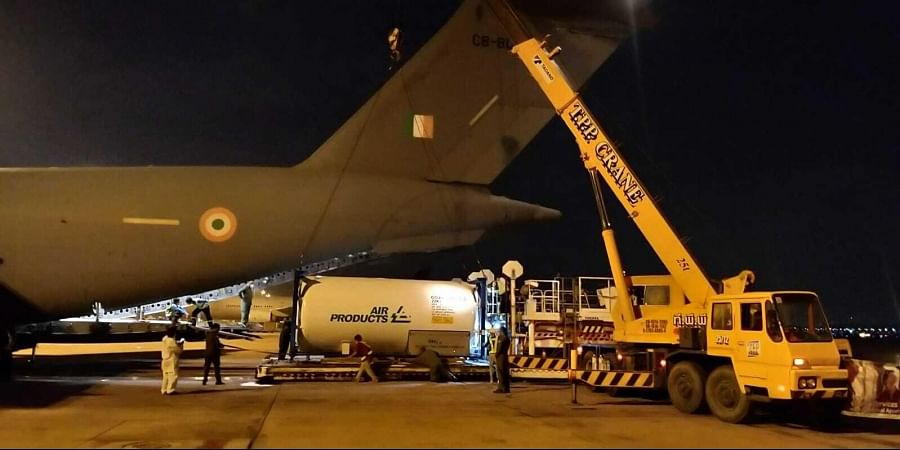 Cryogenic tanks being airlifted from Bangkok airport by the Indian Air Force