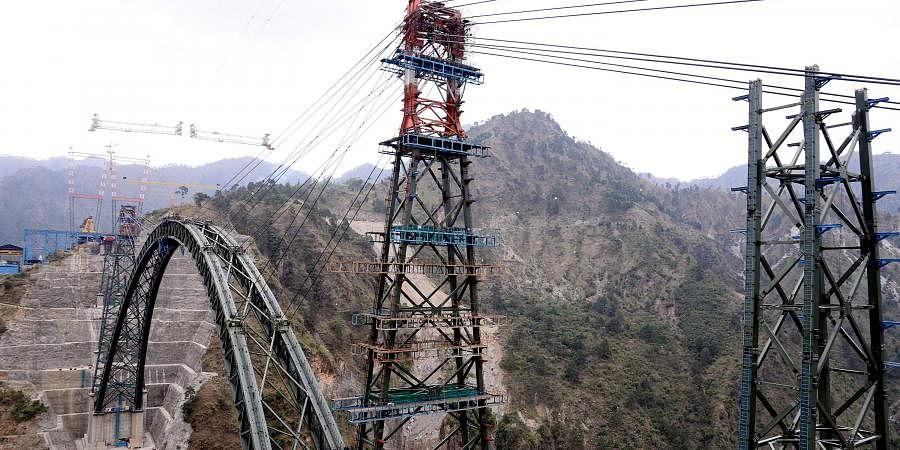 A view of an arch which is being placed at the under-construction iconic railway bridge over Chenab river, in Reasi district on Monday