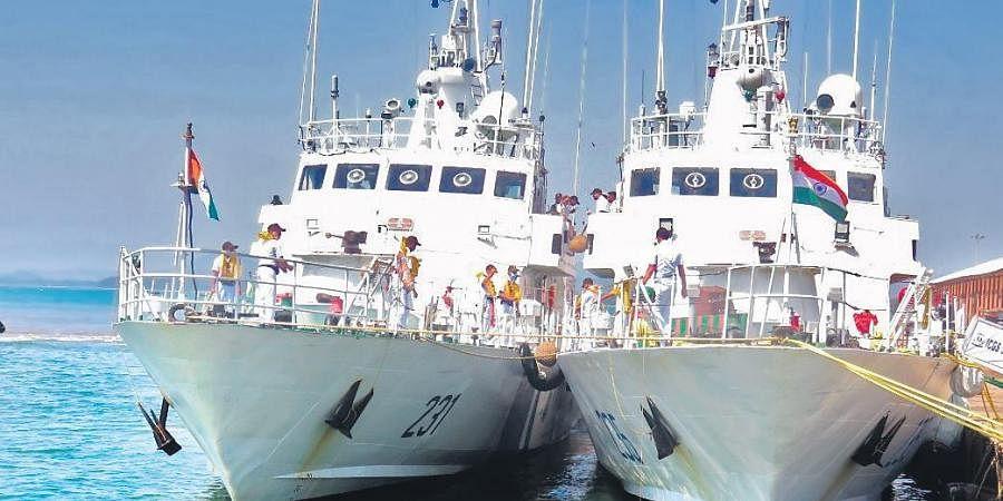 Savitri Bai Phule and Kasturba Gandhi, the two patrol vessels of Indian Coast Guard, docked at Karwar port I Express