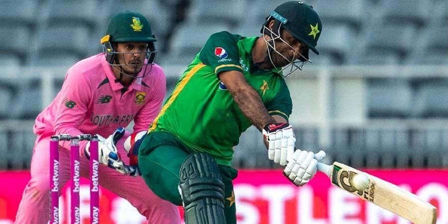 Pakistan batsman Fakhar Zaman plays a shot as South Africa's wicketkeeper Quinton de Kock watches on during the second ODImatch between at the Wanderers stadium in Johannesburg.