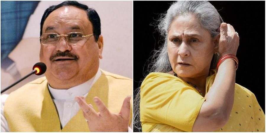 BJP chief JP Nadda (L) and Samajwadi Party leader Jaya Bachchan