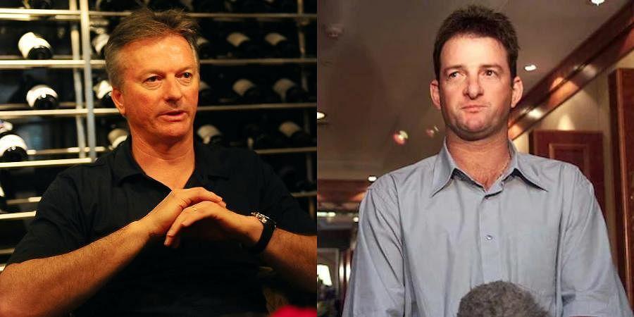 Australia cricket legends Mark Waugh (R) and Steve Waugh
