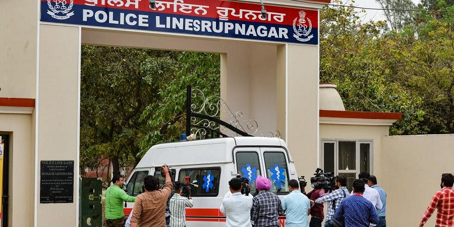 An ambulance enters the Police Lines Rupnagar as part of arrangements for shifting gangster-turned politician Mukhtar Ansari from Punjab to UP.