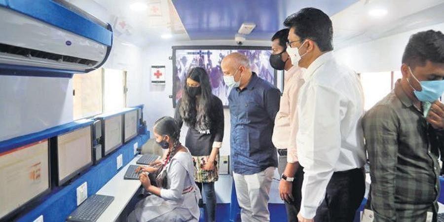 Delhi Deputy CM Manish Sisodia launches the Lab on Wheels at Delhi Technological University in Rohani on Tuesday.