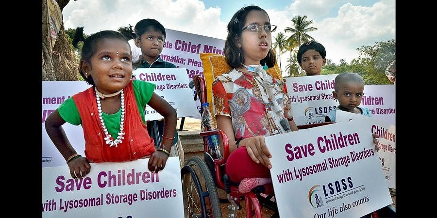 FIle photo of children suffering from Lysosomal Storage Disorder protesting against the delay in setting up a treatment unit for rare genetic disorders at the Indira Gandhi Institute of Child Health.