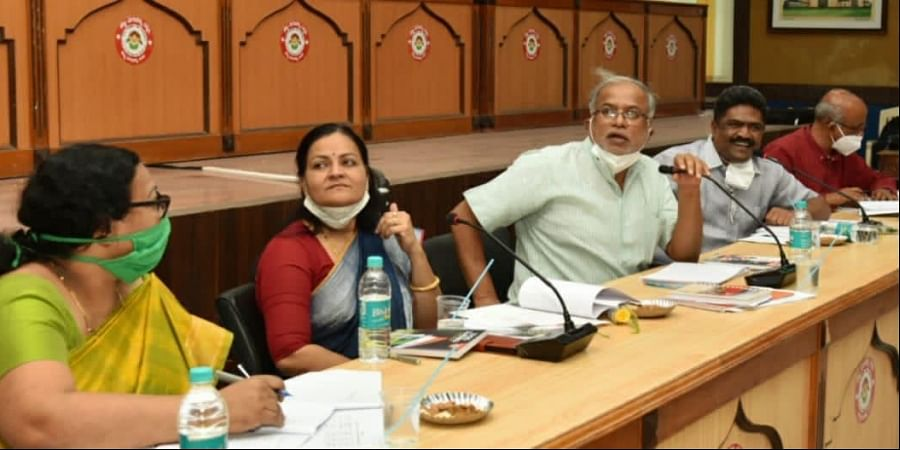 Minister for Primary and Secondary Education S Suresh Kumar at a review meeting of SSLC and PUC exams in Vijayapura on Wednesday   Express