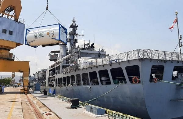 Covid-19 relief supplies arrive onboard naval warships at Indian ports
