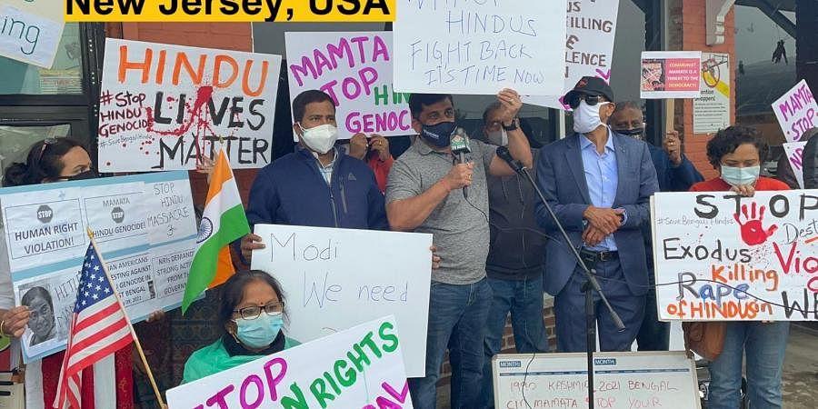 Protestors carried placards reading 'Hindu Lives Matter', 'Protest Against Hindu Genocide'
