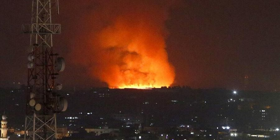 Fire burns and smoke rises after an Israeli forces strike in the Gaza Strip, Monday, May 10, 2021. (Photo | AP)