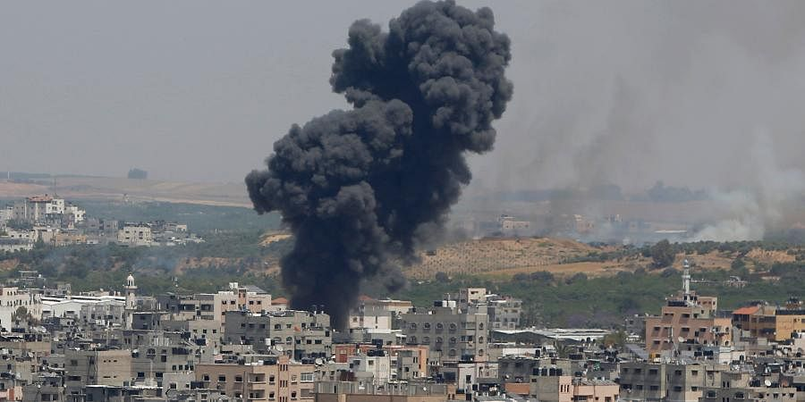 Smoke rises after an Israeli airstrike in Gaza in Gaza City.