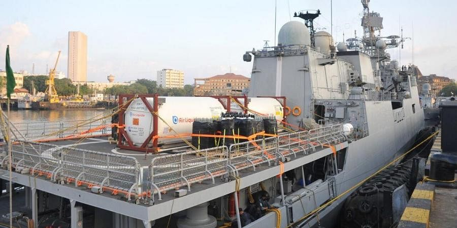 INS Tarkash brought in 40 tons of oxygen donated by France
