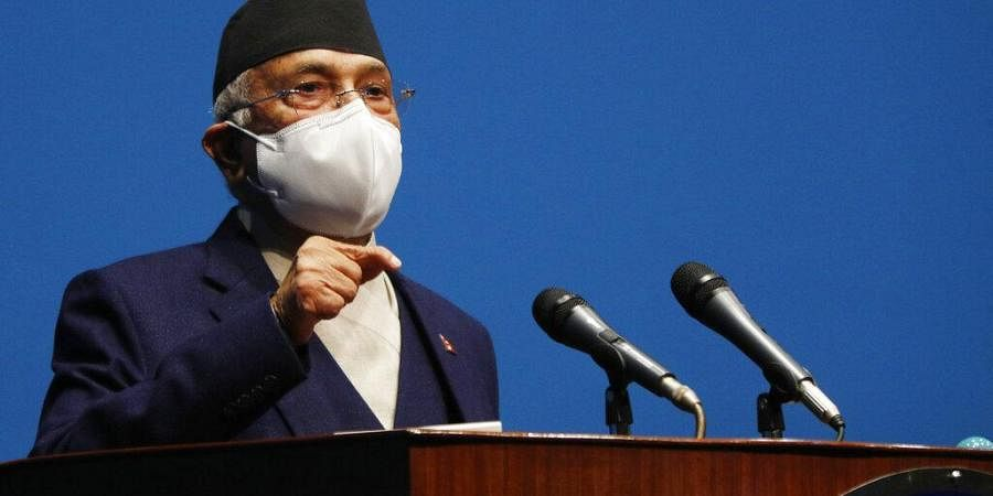 Nepal Prime Minister Khadga Prasad Oli speaks at the parliament in Kathmandu,