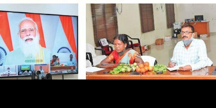 The woman farmer, showing the vegetables cultivated by her to the Prime Minister, said Anantapur is a drought-prone area and gets the least amount of rainfall.