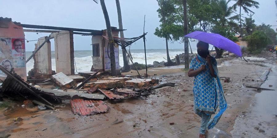 A house demolished during sea erosion at Poothura near Chirayinkeezhu triggered by Cyclone Tauktae in Thiruvananthapuram. (Photo| B P Deepu, EPS)