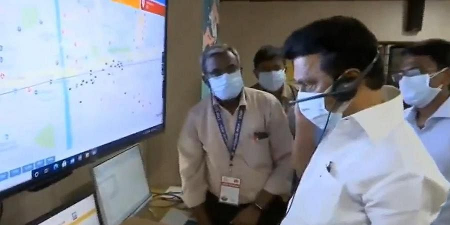 Tamil Nadu CM MK Stalin visiting a COVID-19 war room.