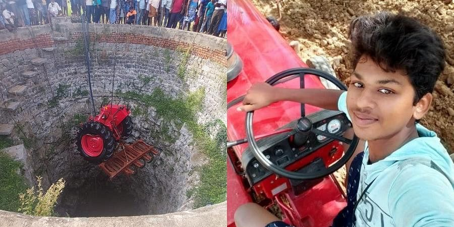 The selfie taken by Sanjeev (R) and the tractor being retrieved from the well.