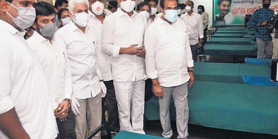 Ministers K Kanna Babu, Alla Nani and M Srinivasa Rao and MP V Vijayasai Reddy go round the 300-bed Covid Care Centre in Vizag on Friday.