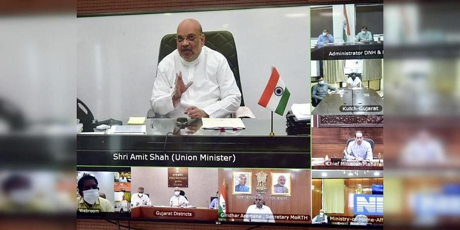 Union Home Minister Amit Shah chairs a review meeting with the CMs of Gujarat and Maharashtra to deal with the cyclone Tauktae