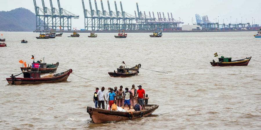 Fishing boats anchored due to cyclone Tauktae alert, at Mora Jetty Uran, in Navi Mumbai