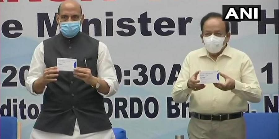 Defence Minister Rajnath Singh and Union Health Minister Dr Harsh Vardhan release first batch of Anti-COVID drug 2DG developed by DRDO