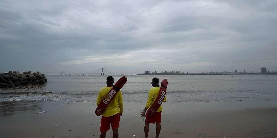 Lifeguards patrol at Dadar Chowpatty due to formation of Cyclone Tauktae in the Arabian Sea in Mumbai,