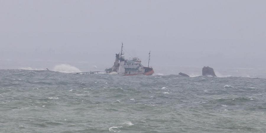 Coromandel vessel struck near Mulky Rocks off Mangaluru Coast from which nine persons were rescued on