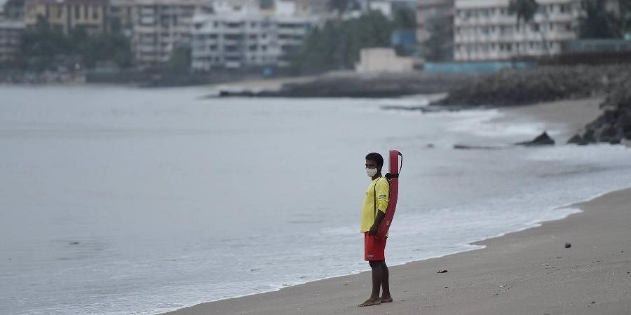 Lifeguard patrol at Dadar Chowpatty due to formation of Cyclone Tauktae in the Arabian Sea in Mumbai,