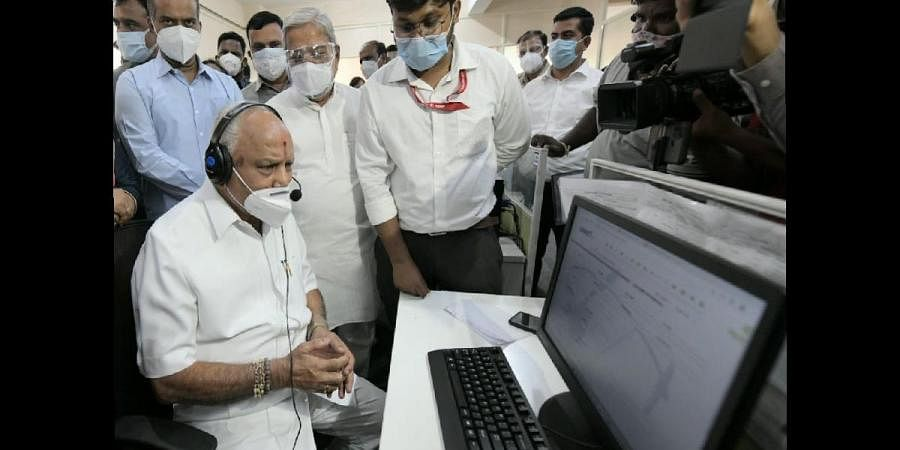 Chief Minister B S Yediyurappa at the BBMP war room at Domlur in Bengaluru, which he visited on Monday | EXPRESS